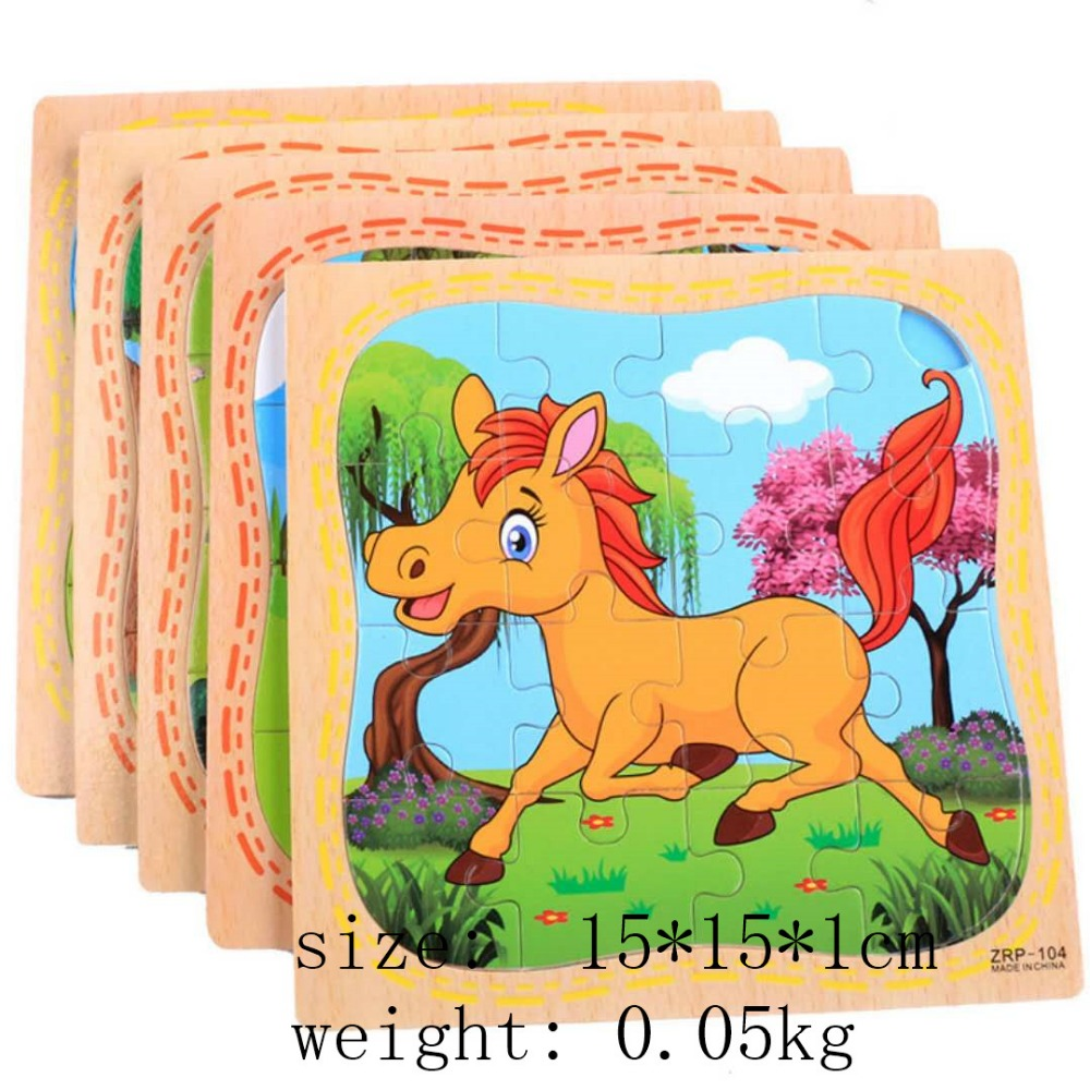 Animal Wooden Model Toy Jigsaw Puzzle Wood Toys Baby Educational Games Toys  For Children Educational  Toys  Gifts For Children