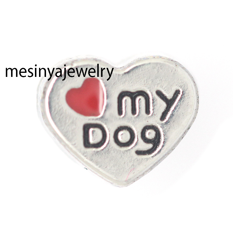 10pcs love my dog floating charms for glass locket Min amount $15 per order mixed items, ...