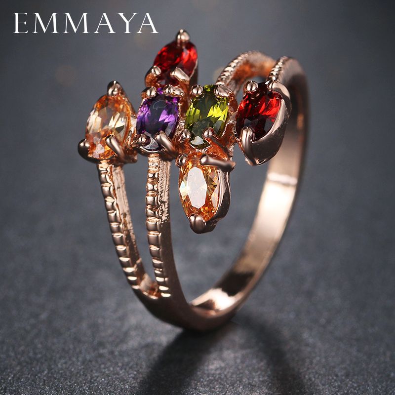 Emmaya Brand New Rose Gold Color Leaf Rings For Women Rhinestones Size Ring Party Fashion Jewelry