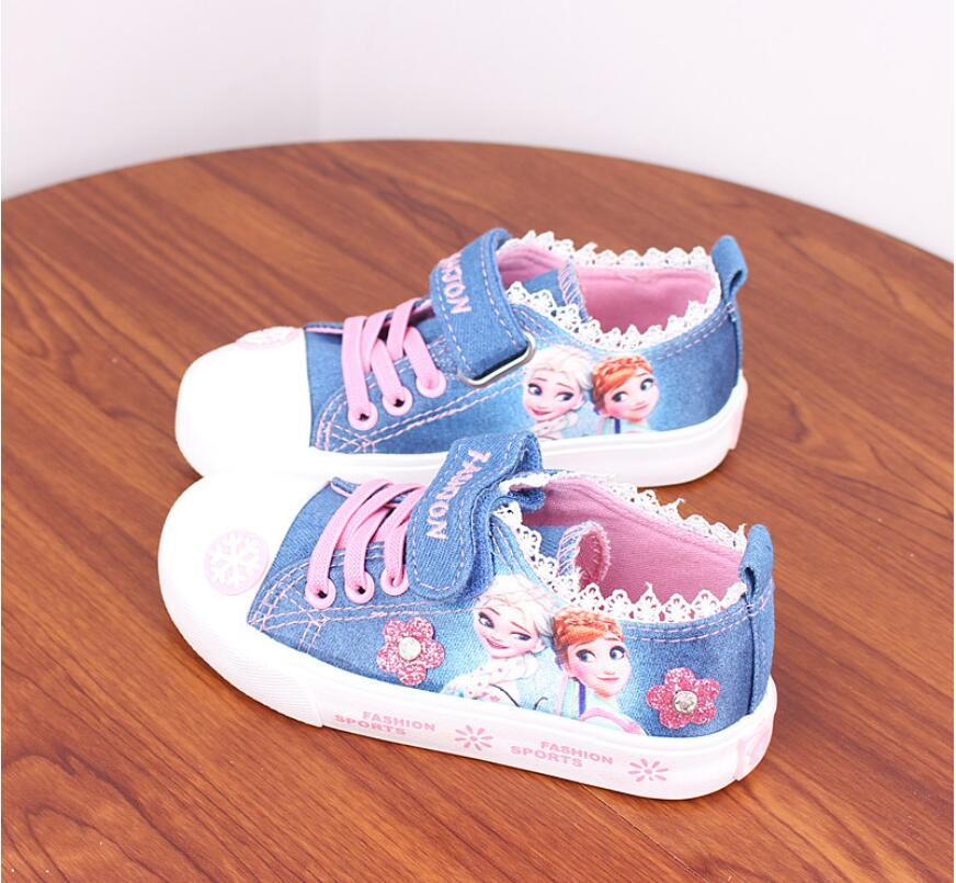 2019 Girls Shoes For Kids Fashion Elsa Anna Kids Shoes Ice Snow Queen Casual Denim Canvas Children Shoe Girl Sneakers