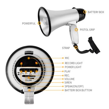 High power Portable hand megaphone Peddle trumpets Lithium battery loud speaker Recording horn Tour guide speakers Loud volume