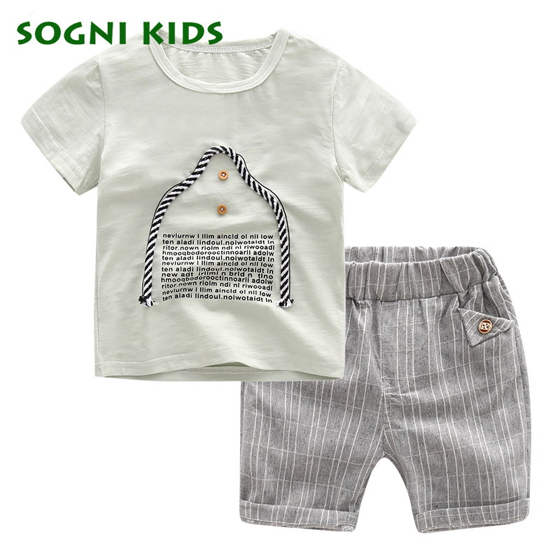 SOGNI KIDS boys girls kids clothes sets summer brand casual boys plaid short sleeves T-shirt+shorts child clothing tracksuits