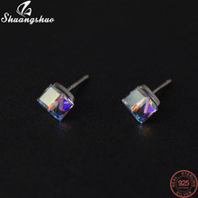 Shuangshuo prata cor europeu e americano bugigangas praça zircão brincos para mulheres jóias orelha earing atacado