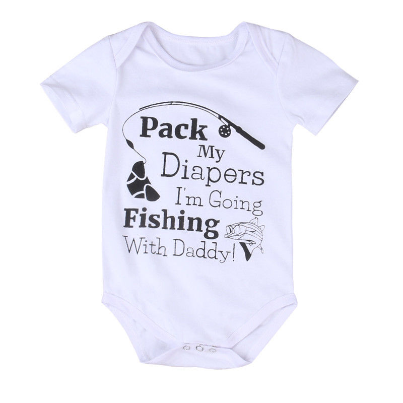 Newborn Infant Baby Girl Boy Fishing Romper Bodysuit Jumpsuit Outfits  Clothes