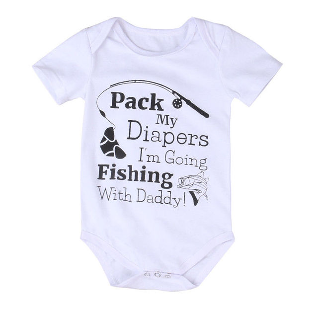 3470ccf1ab5b Cotton Baby Romper Fishing With Daddy Clothes Newborn Infant Baby Boys Girls  Romper Jumpsuit Outfits Sunsuit Playsuit Clothes