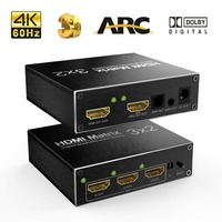 4K 60Hz Ultra HD HDMI 3X2 Matrix Switcher Switch Splitter R/L+ARC 3 Ports Inputs 2 Port Outputs with IR Remote HDCP1.4