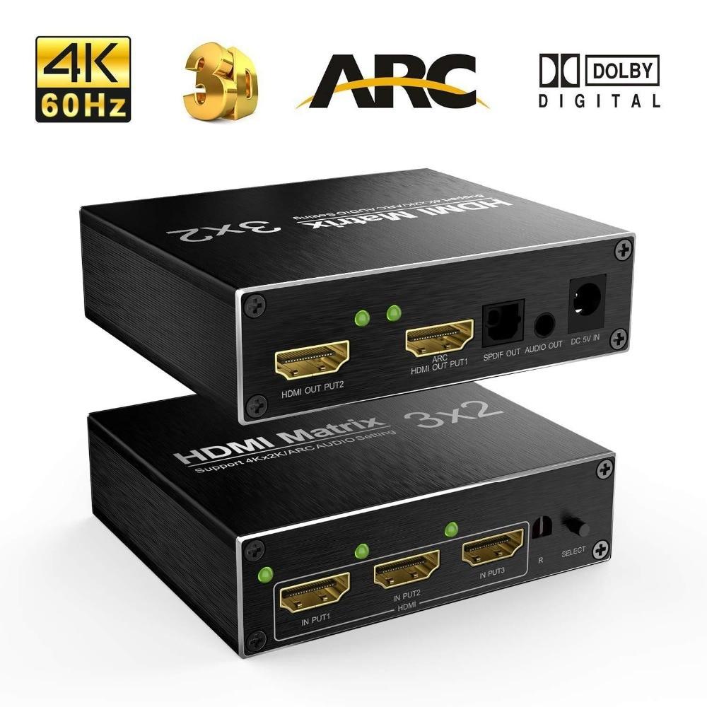 4K 60Hz Ultra HD HDMI 3X2 Matrix Switcher Switch Splitter R/L+ARC 3 Ports Inputs 2 Port Outputs with IR Remote HDCP1.4