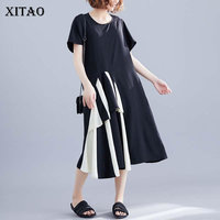 XITAO Patchwork Hit Color Black White Dress Women Clothes 2019 Big Dress Slim Plus Size O Neck Short Sleeve Summer New WLD2147