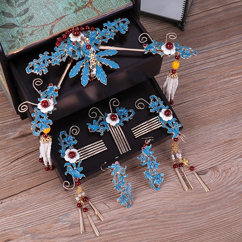 Jewelry Hair Wedding-Headdress Combs-Sticks Brides Long-Tassel Classical Handmade Vintage