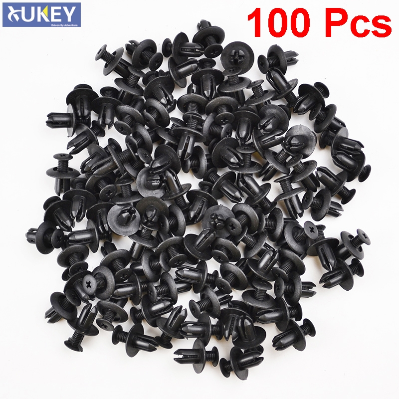 100 X Auto Nylon Rivet Fastener Expansion Push in Fender Clips 8mm for Honda US