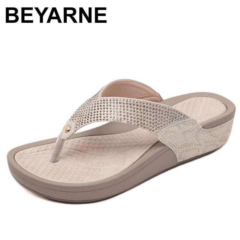 BEYARNE2019New Women Floral Beaded Sequin Embellishment Mesh Slippers Flip Flop Sandal Wedge Platformshoes Sandalia FemininaE054