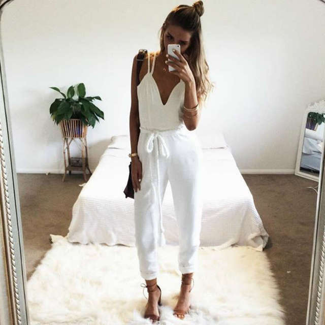 Sexy White Jumpsuit Rompers Womens Jumpsuit Overalls Elegant Monos Largos De Mujer 2016 Salopette Macacao Feminino Longo Brand