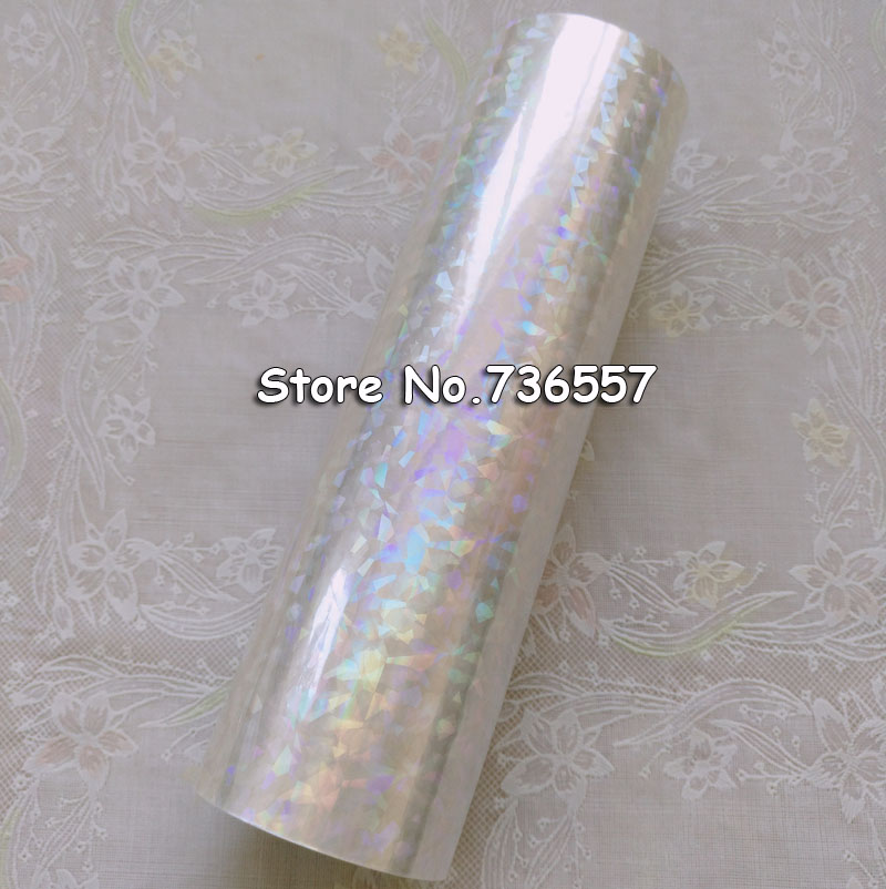 Holographic Foil Transparent Foil Y04 Hot Stamping For Paper Or Plastic 16cm X120m Shattered Glass