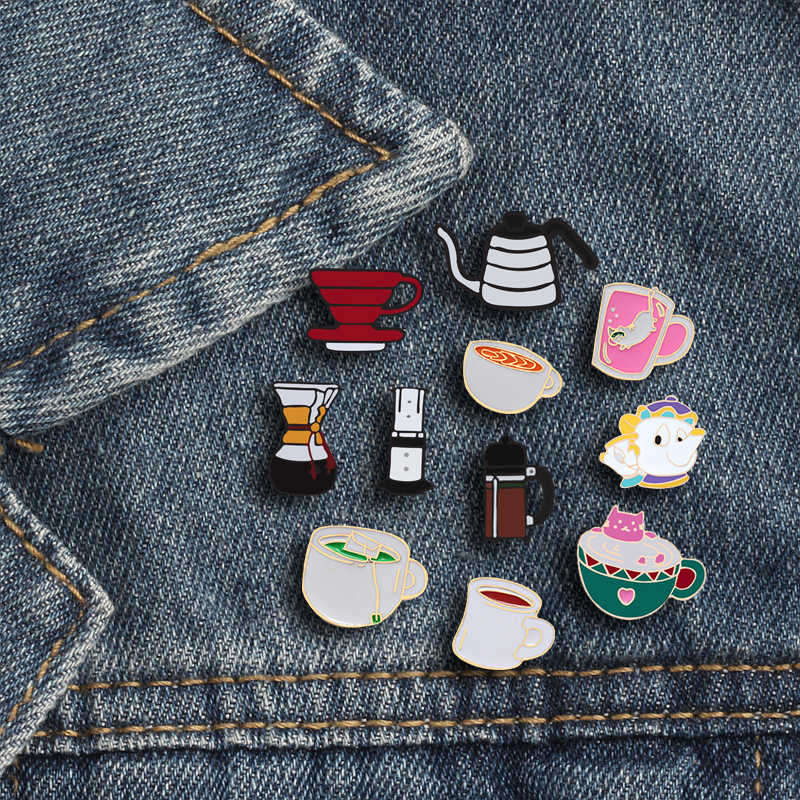 Trendy Cup Brooches For Women&Men High Quality Coffee Machine Thermous Cup Drinking Fountain Teapot Personality Enamel Lapel Pin