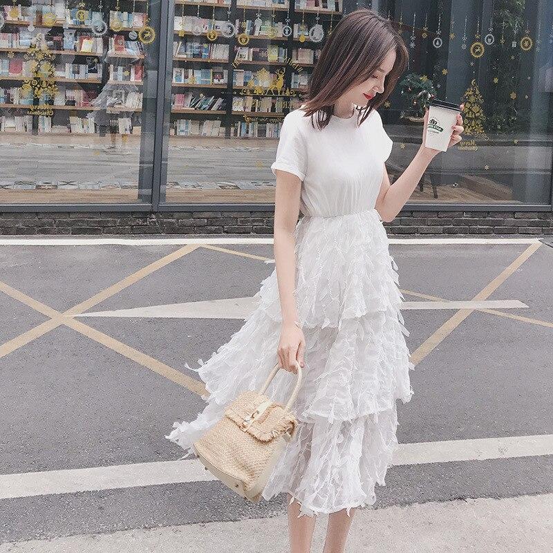 2019 المرأة تول اللباس الأزياء مرونة عالية الخصر شبكة توتو اللباس مطوي فستان طويل ميدي اللباس على تعزيز-في فساتين من ملابس نسائية على  مجموعة 3