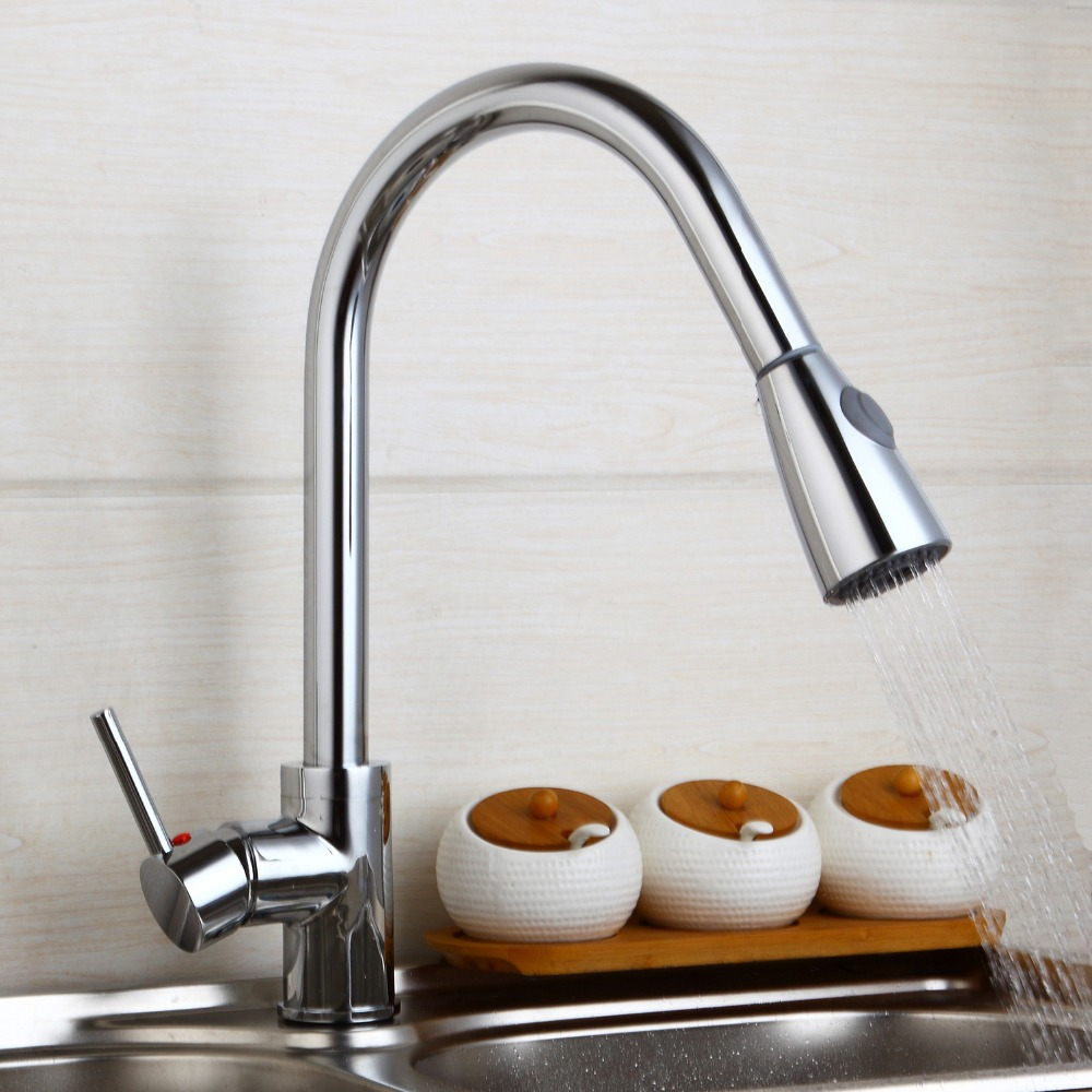 Modern New Polish Chrome Kitchen Faucet Pull Out Single Handle Swivel Spout Vessel Sink Mixer Tap new pull out sprayer kitchen faucet swivel spout vessel sink mixer tap single handle hole hot and cold