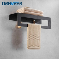Wholesale And Retail New Design 60CM Wall Mounted Matte Black Painted Stainless Steel Towel Rack Bathroom Holders
