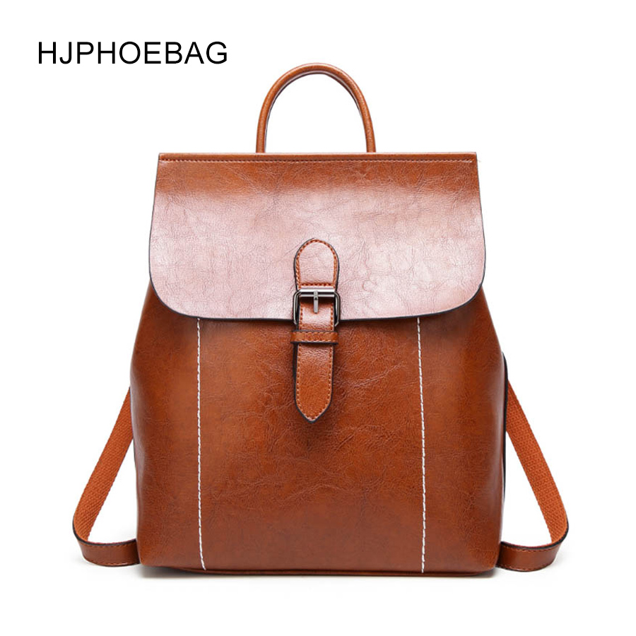 HJPHOEBAG New Backpack Women's Pu Leather Women's Backpack Junior Bag Mochila Feminina Backpack Multi-function Backpack  YC040