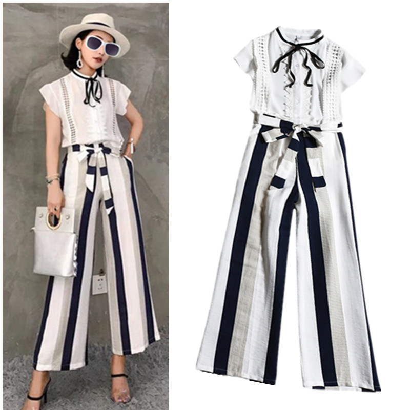 Europe Style Summer 2 Pcs Sets Women Flare Sleeve Ruffles Lace Up Blouses Shirts Tops And Stripped Print  Pants Suit Set NS154