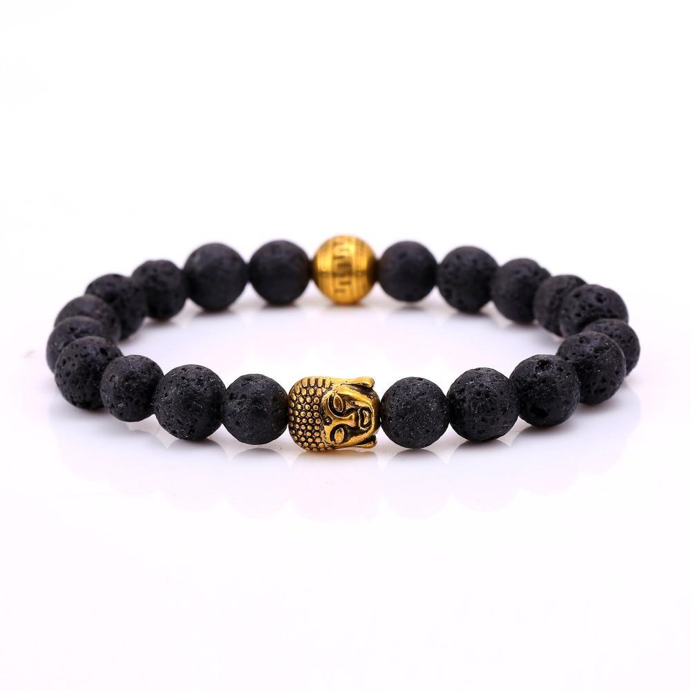 Natural Stone Bead Buddha Shamballa Bracelets for Women Men Gold Black Lava Love Jewelry 2016 Charm Bracelet bb10260