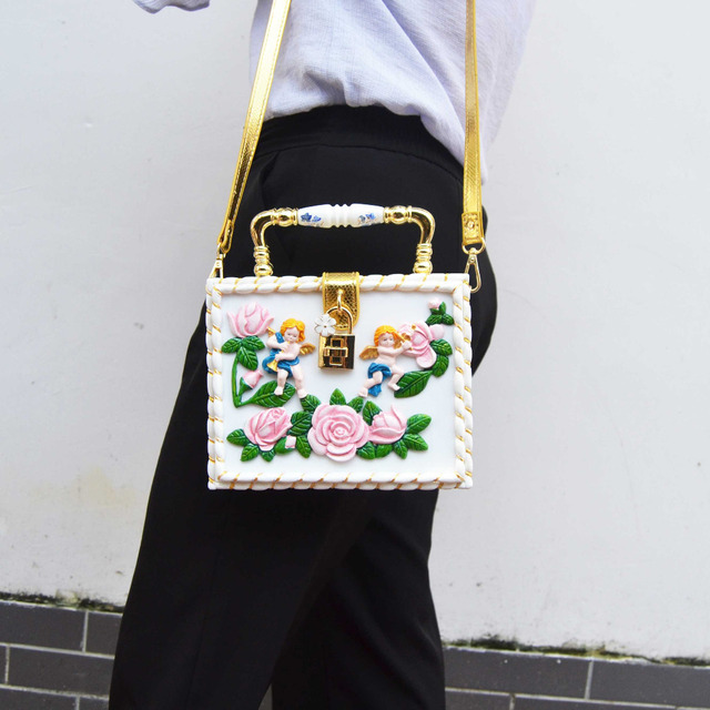 bf1b53adcc Newest sculpture Lovely Baby Flower Mini Tote Fashion Box Handbags With Strap  White Clutch Evening Bag