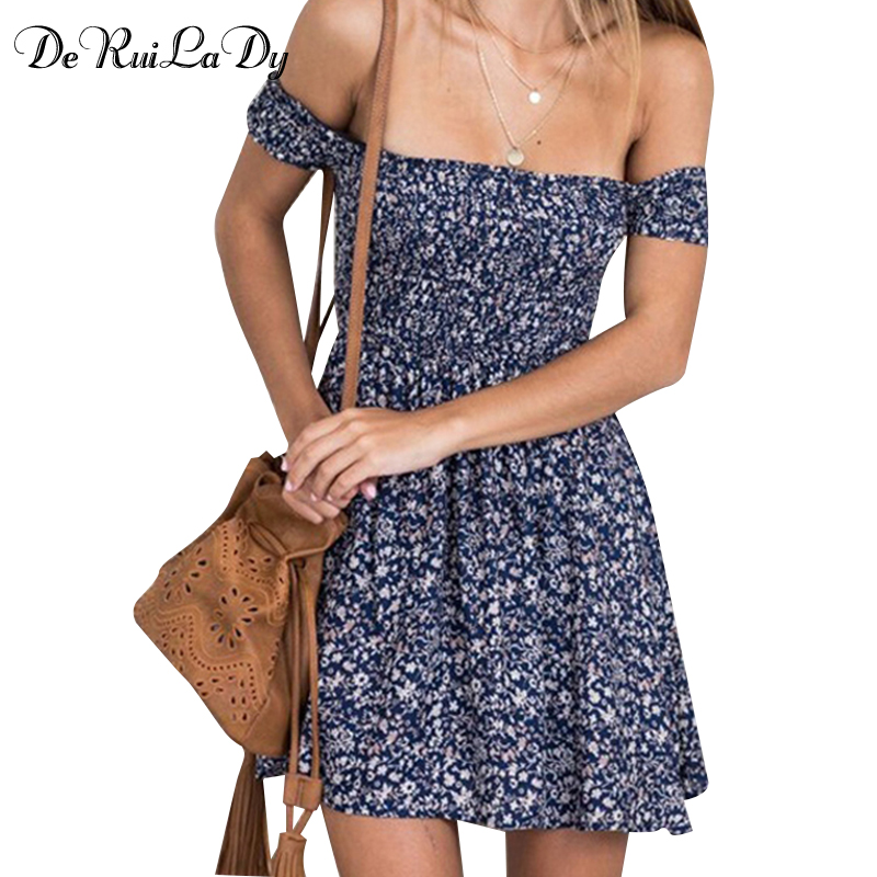 CUERLY 2019 Boho Style Women Summer Dress Off shouCUERLYer floral Print High Waist Dresses Beach Casual Vintage Dress CUERLY in Dresses from Women 39 s Clothing