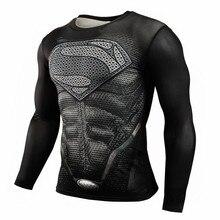 2017 T shirt Compression Shirt Crossfit T shirt Men Lycra 3D Print Long Sleeve T shirt