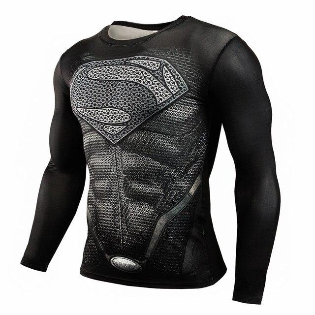 2017 T shirt Compression Shirt Crossfit T-shirt Men Lycra 3D Print Long  Sleeve T