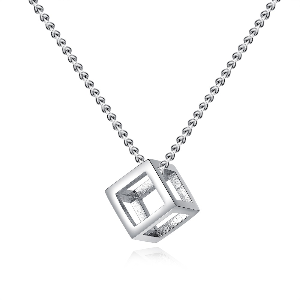 Fate Love Stainless Steel Pendant Necklace Cube Personalized Black Shiny Color Silver Necklace For Men Best Gifts Jewelry FL1452Fate Love Stainless Steel Pendant Necklace Cube Personalized Black Shiny Color Silver Necklace For Men Best Gifts Jewelry FL1452