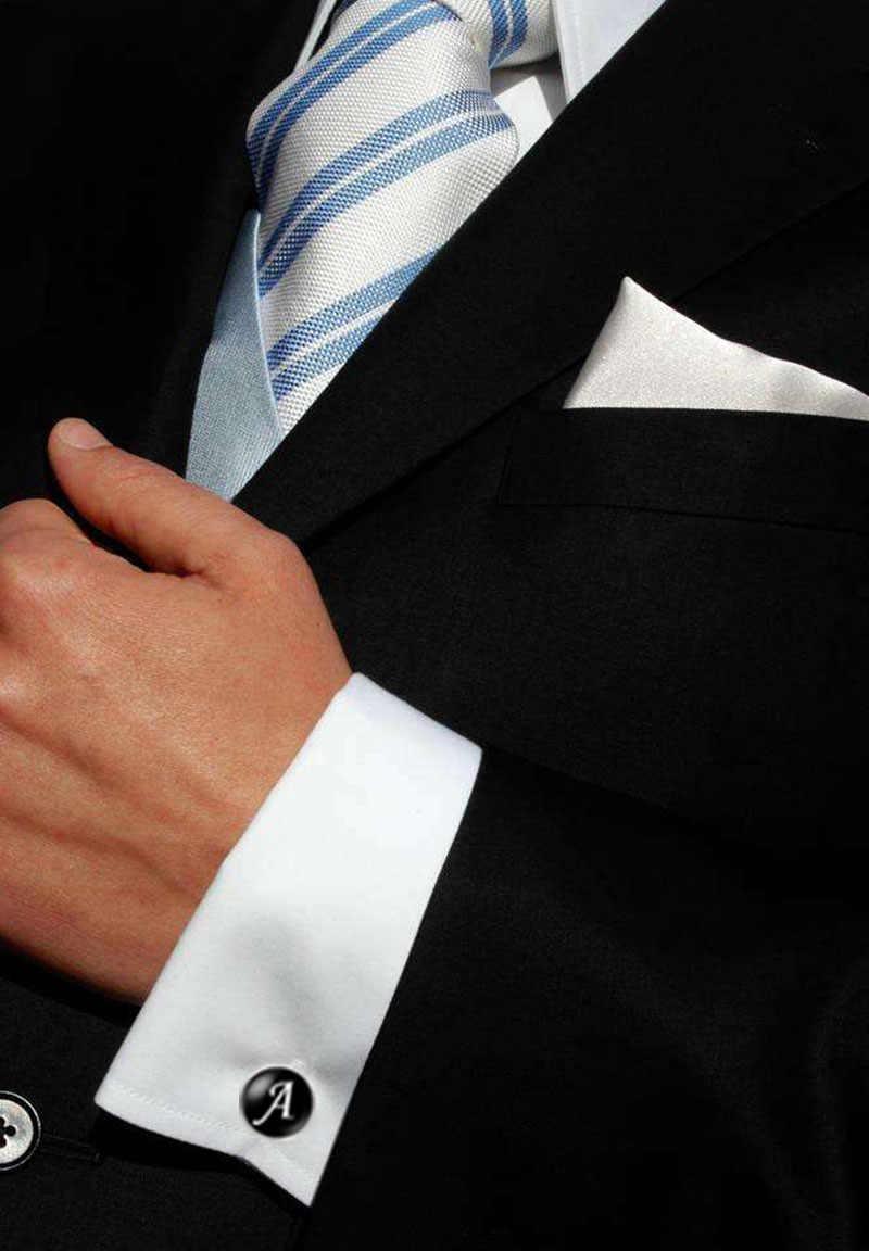 1 زوج زر الكم الرجال A-Z واحدة الأبجدية أزرار أكمام فضية اللون رسالة زر الكفة للذكور Gentleman قميص أزرار أكمام الزفاف