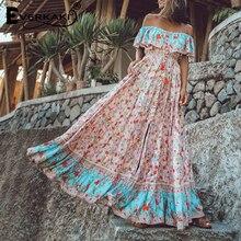 Everkaki Off The Shoulder Dresses For Women Bohemian Sleeveless Maxi Dress Women Floral Printed Long Dress Summer 2019 Autumn