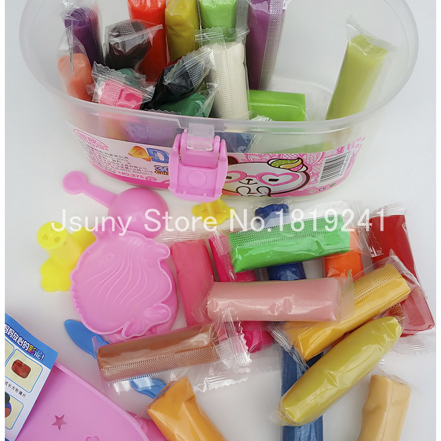 1 Set 30 Color Play Dough Playdough Polymer Clay Plasticine Mold Tools Set Kit Styling Tools Jsuny Toy Kids FIMO Polymer Clay