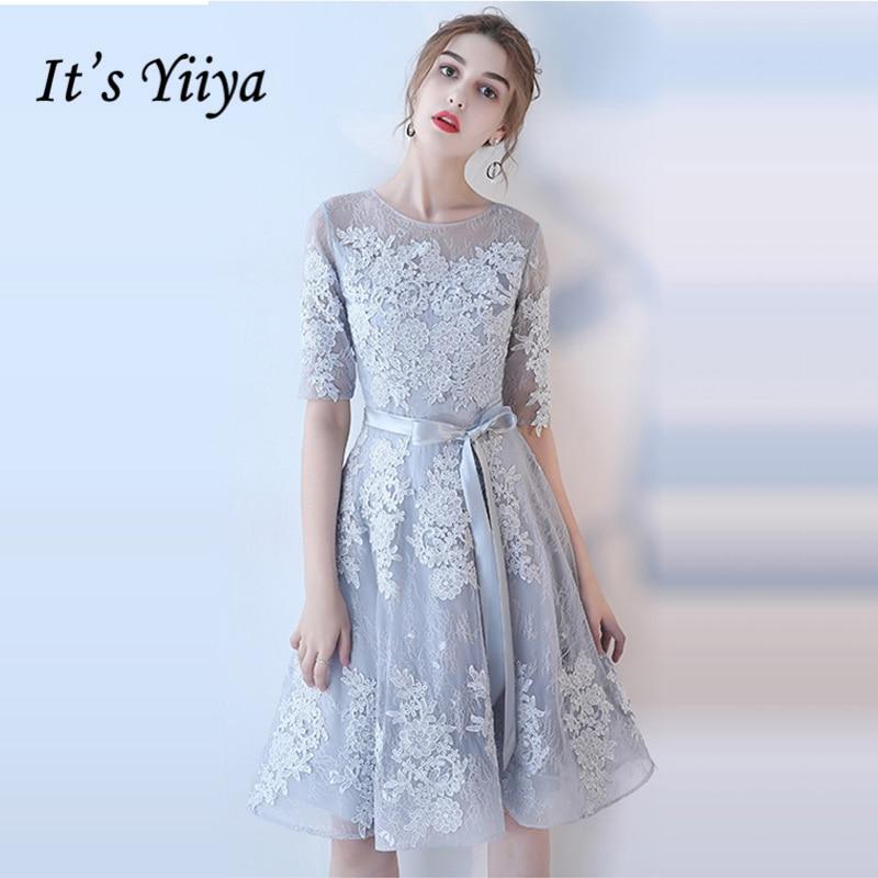 It's YiiYa Bridesmaids Dresses O-Neck Lace Illusion Embroidery Sashes Formal Dress Flower Lady Fashion Designer LX983