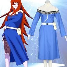 Hot font b anime b font Naruto Terumi Mei bule long dress font b Cosplay b