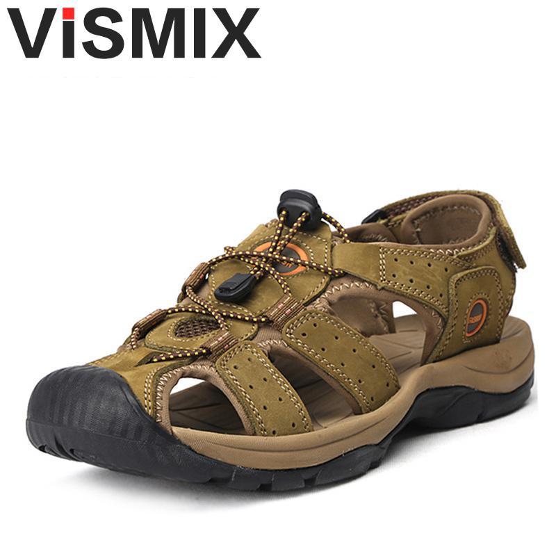 VISMIX Brand Genuine Leather Shoes Summer New Large Size Mens Sandals Men Sandals Fashion Sandals And Slippers Big Size 38-47