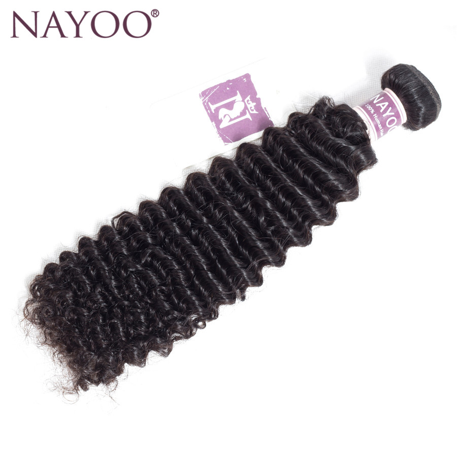 NAYOO Mongolian Kinky Curly Human Hair Weave Bundles Non Remy Hair Extension Natural Color 1 Piece Only Can buy 3 or 4 Bundles