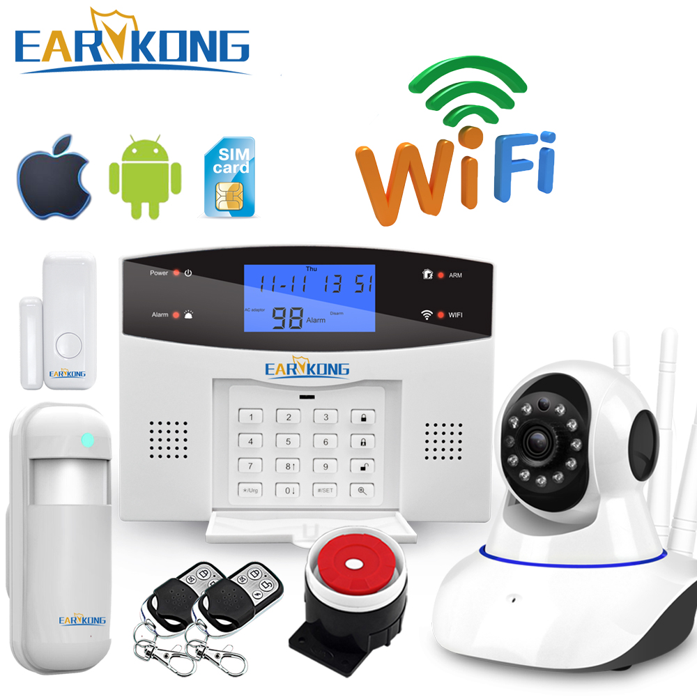 Upgrade Wifi PSTN GSM Home Burglar Alarm System Support Wireless & Wired Detector Alarm Smart Home Device Relay Output Control
