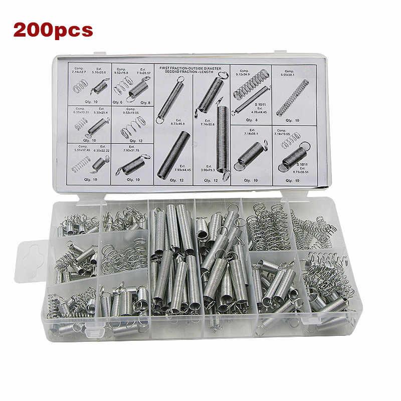 200 PCS/Kotak Set Springs Ukuran Campuran Logam Ketegangan/Compresion Spring Kit PAK55