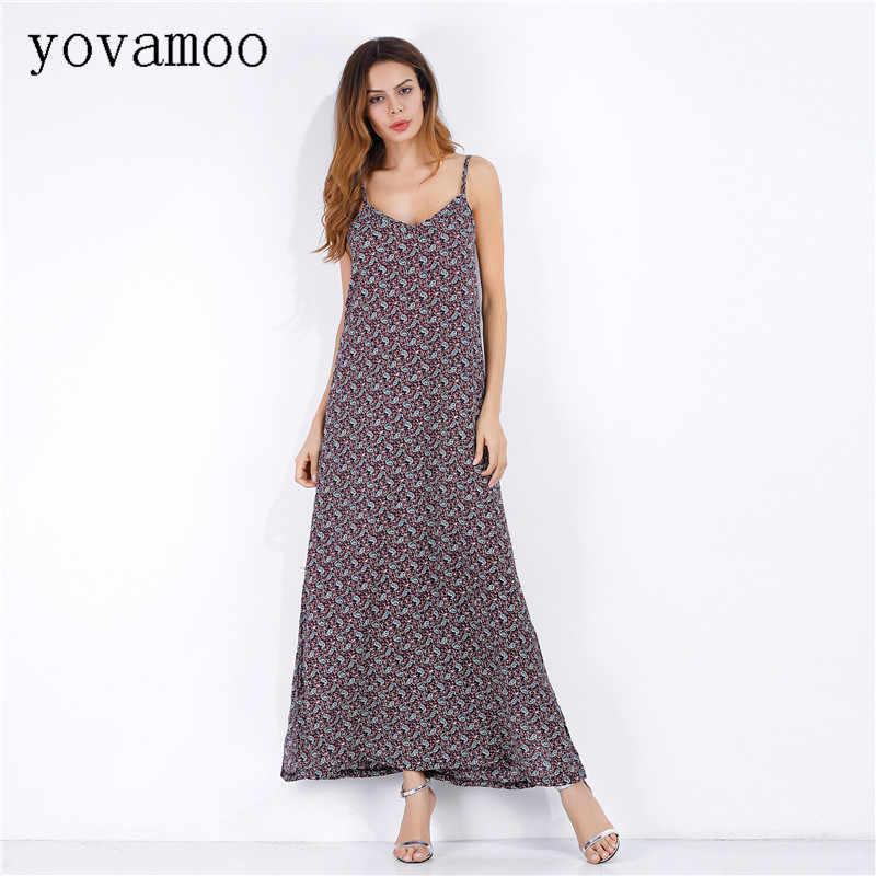 Yovamoo Chiffon Vestido Floral Impressão vestido de Praia Com Decote Em V Casual Plus Size Bohemian Vestidos Longos 2018 Moda Primavera Verão