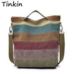 Tinkin Повседневное Для женщин Холст сумка простота Женский Сумочка мягкая Средний Размеры Сумка для подростков