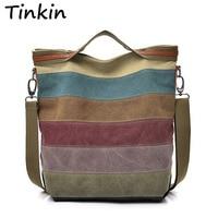 Tinkin Casual Women Canvas Shoulder Bag Simplicity Female Handbag Soft Medium Size Messenger Bag For Teenagers
