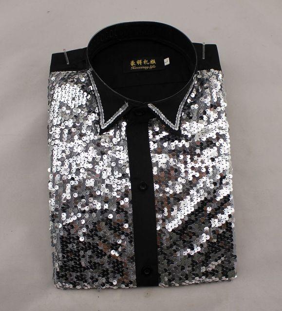 Бесплатная Доставка! Новый 2016 Мужчины Платье Показать Рубашку с Длинными рукавами Танцевальная Студия Этап Шоу Блестками Хор Flash Рубашка S-XXL