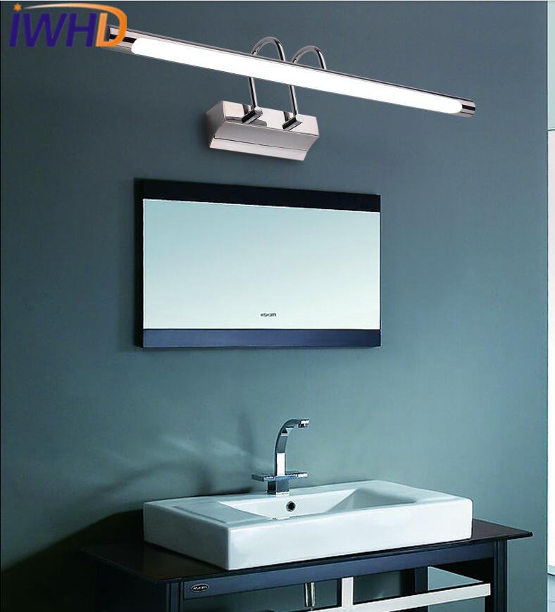 Lámpara de pared moderna con luz para espejo de baño con led, lámpara de pared ajustable de acero inoxidable - 4