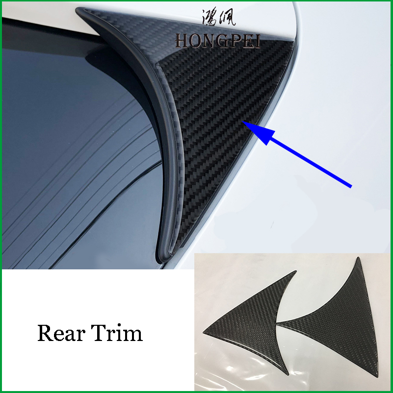 For Mazda3 <font><b>Mazda</b></font> <font><b>3</b></font> Axela M3 hatchback 2014-<font><b>2018</b></font> Carbon Fiber+PU REAR WINDOW <font><b>SPOILER</b></font> SIDE WING COVER Sticker Trim Car Styling image