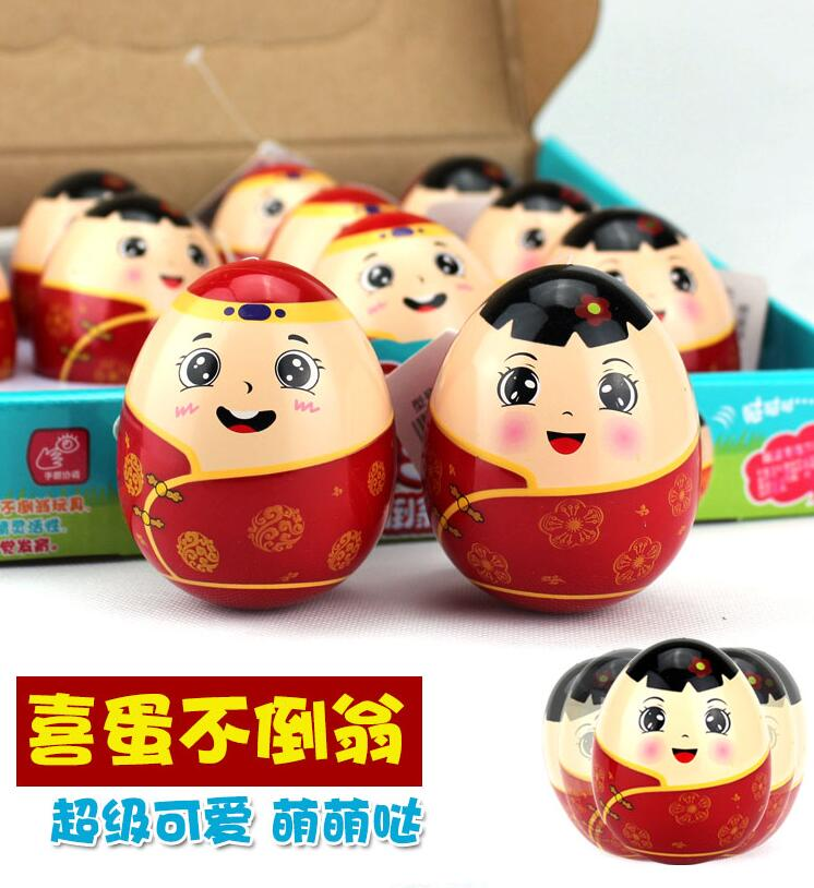 Toy Birthday-Gift Plastic Cartoon Lover Tumbler Couple Egg-Shape Good-Luck Roly-Poly