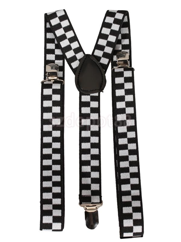 New 2014 Brand New Black And White Checkered Clip-on Braces Elastic Y-back Suspender 37 X 15/16 Inch
