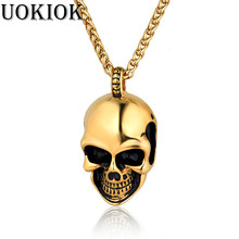 Punk Stainless Steel Skull & Skeleton Pendant Necklace Chain Rock Gothic Necklaces Gold Silver Color Men Jewelry
