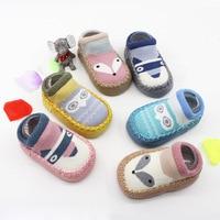Dog/Owl/Fox Baby Sock Cartoon Cotton Newborns Socks with PU Leather Soft Sole Anti-slip Floor Toddler Shoes 1 Pair