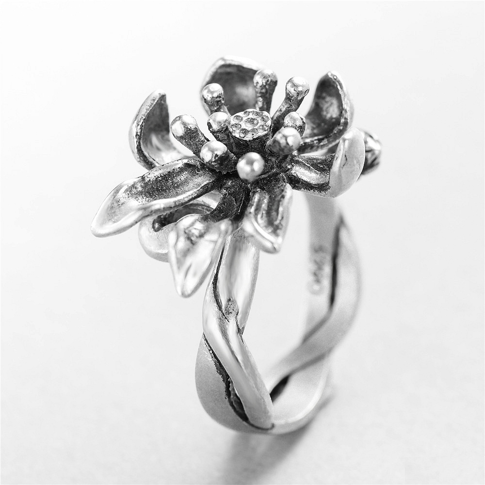 flower weave original Rings 100% Sterling 925 silver Jewelry Vintage Adjustable rings for women girl gift