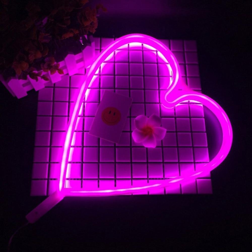 ICOCO Heart Shape LED Neon Light Home Children Bedroom Wall Hanging Light for Festival Party Wedding Decor Light